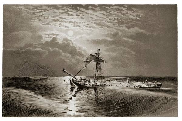 Drown Photograph - Dismasted Ship After A Storm. by David Parker/science Photo Library