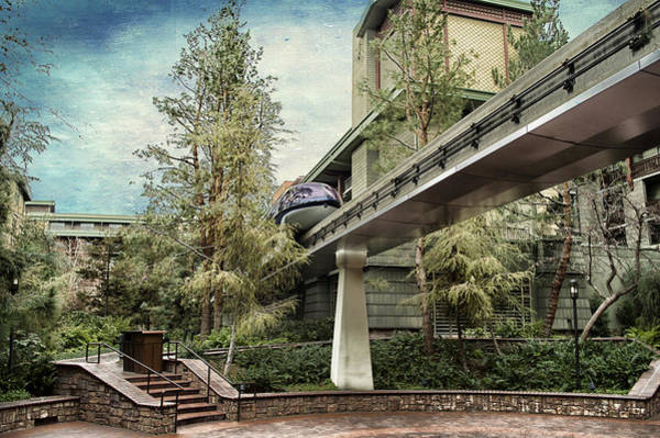 Wall Art - Photograph - Disneyland Grand Californian Hotel Courtyard Monorail Textured Sky by Thomas Woolworth