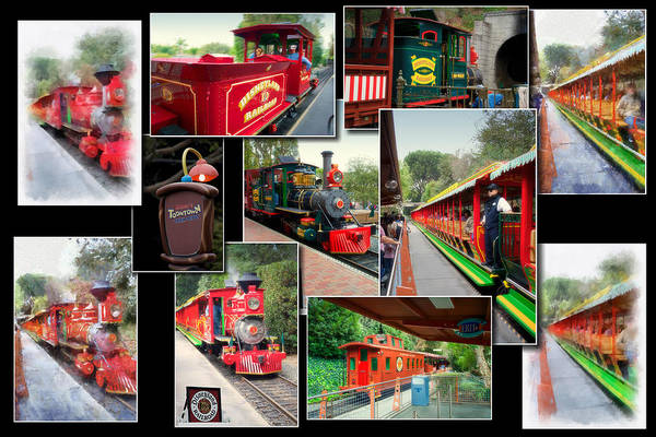 Wall Art - Photograph - Disneyland Railroad Black Collage by Thomas Woolworth