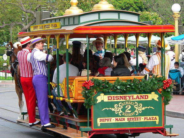 Photograph - Disneyland Trolley  by Jeff Lowe