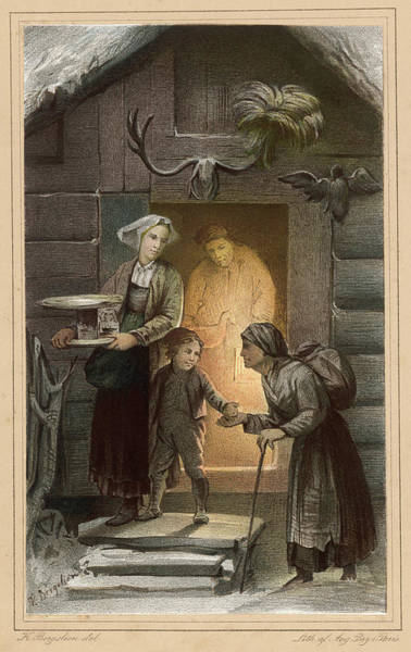 Wall Art - Drawing - Dispensing Charity At The Door by Mary Evans Picture Library