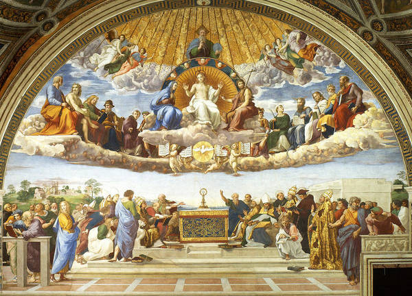Sacrament Wall Art - Painting - Disputation Of Holy Sacrament. by Raphael