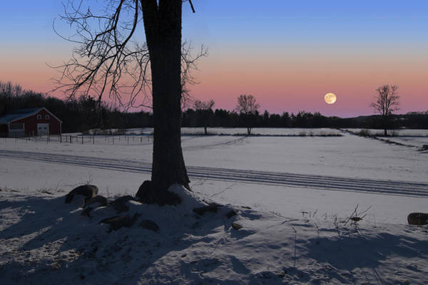 Photograph - Distant Winter Moonrise by Larry Landolfi