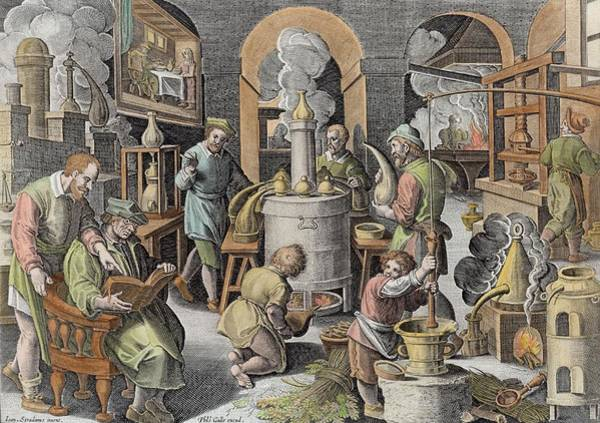 Fire Drawing - Distillation, Boiling Water To Purify by Jan van der Straet