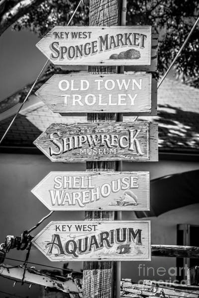Street Performers Photograph - Distressed Key West Sign Post - Black And White by Ian Monk