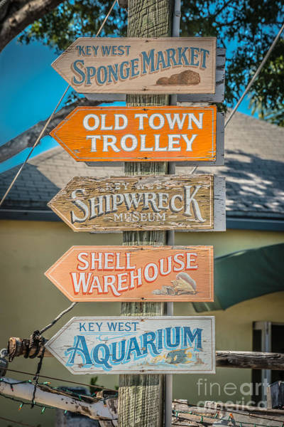 Street Performers Photograph - Distressed Key West Sign Post - Hdr Style by Ian Monk