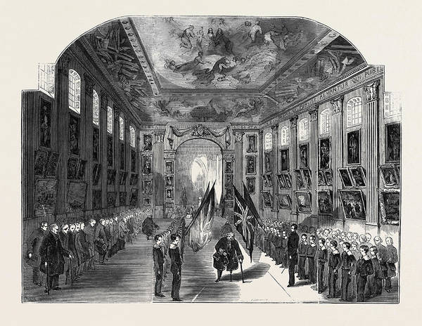 Distribution Drawing - Distribution Of The Nelson Medals, In The Painted Hall by English School