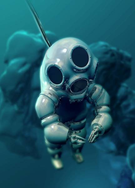 Diving Suit Photograph - Diver Wearing Atmospheric Diving Suit by Victor Habbick Visions