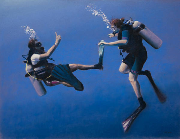 Scuba Diving Wall Art - Pastel - Divers by Christopher Reid
