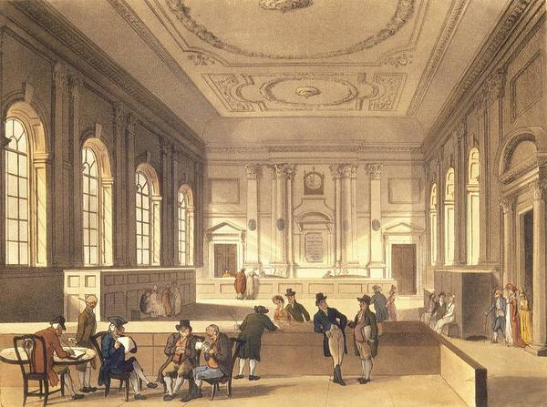Merchant Painting - Dividend Hall At South Sea House by T Rowlandson