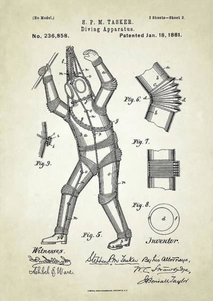 Diving Suit Photograph - Diving Apparatus Patent by Us Patent And Trademark Office