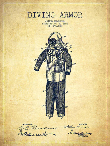 Diving Digital Art - Diving Armor Patent Drawing From 1893 - Vintage by Aged Pixel
