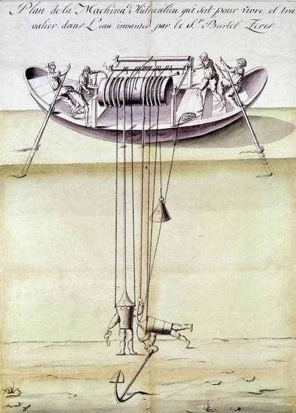 Spanish People Drawing - Diving Device, 1791 by Granger