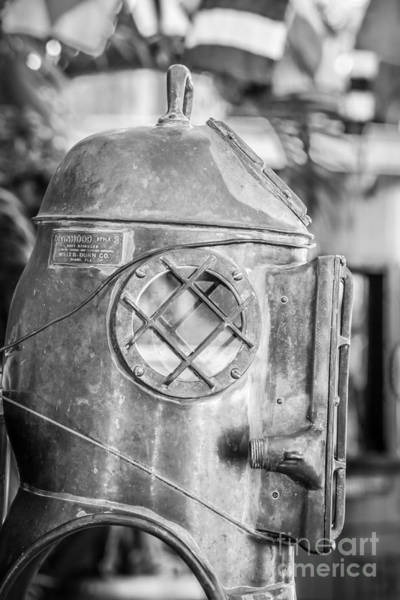 Street Performers Photograph - Diving Helmet Key West - Black And White by Ian Monk