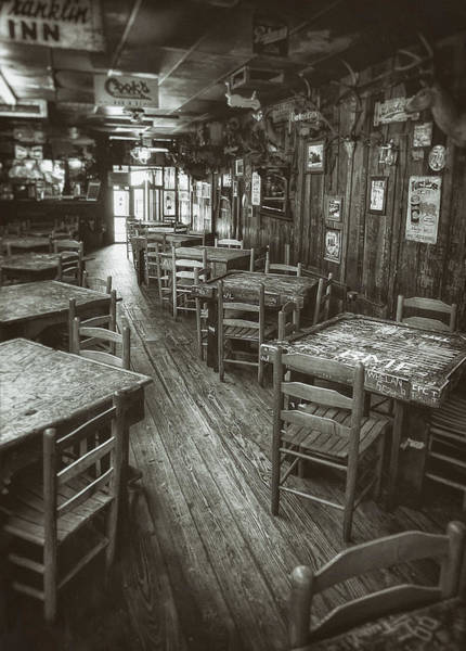 Monochrome Photograph - Dixie Chicken Interior by Scott Norris