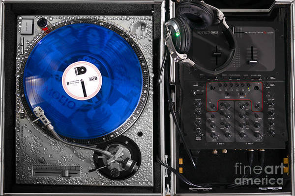 Record Album Wall Art - Photograph - Dj Blue Vinyl Mixing Board by Jt PhotoDesign