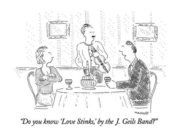 Violinist Wall Art - Drawing - Do You Know 'love Stinks by Robert Mankoff