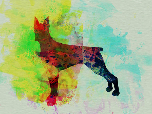 Doberman Wall Art - Painting - Doberman Pinscher Watercolor by Naxart Studio