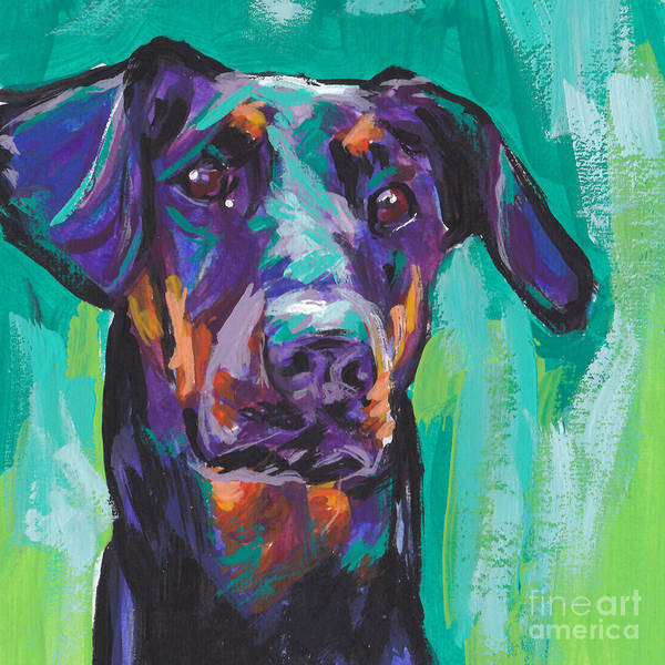 Doberman Wall Art - Painting - Dobie Love by Lea S