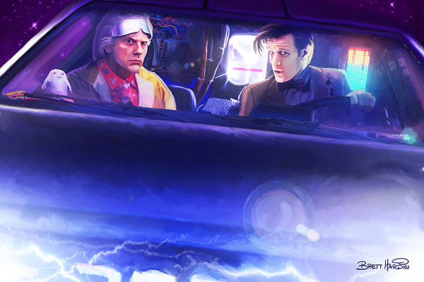 Painting - Doc Doctor And The Delorian by Brett Hardin
