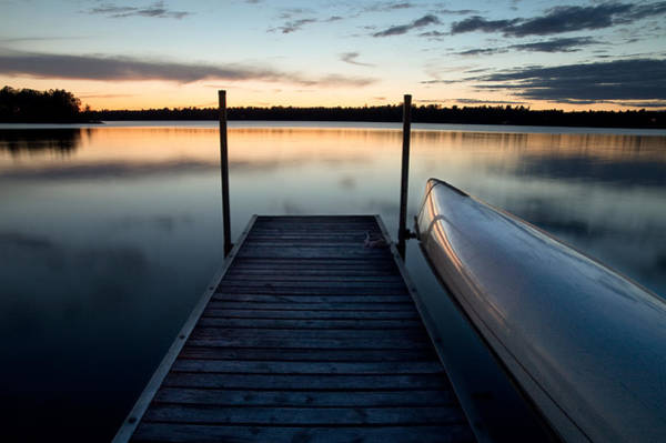 Photograph - Dock At Dusk On Black Lake by Rob Huntley