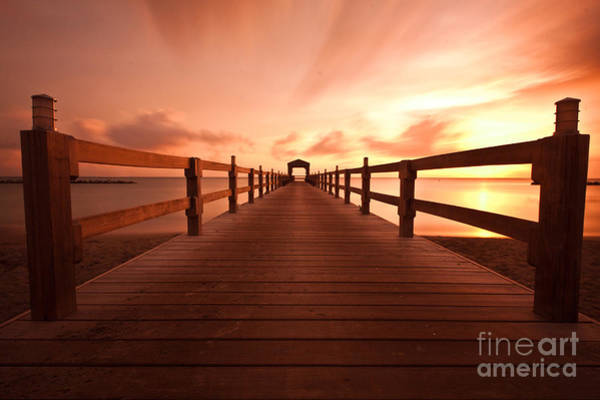 St Kitts Photograph - Dock On Caribbean Beach At Sunset by Katherine Gendreau