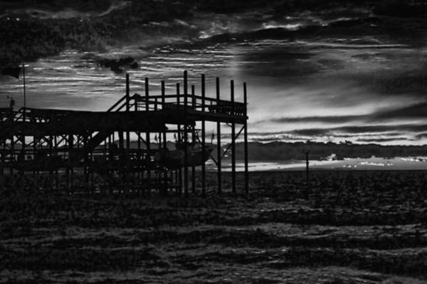 Digital Art - Dock Sunset Bw1 by Michael Thomas