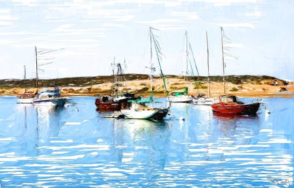 Morro Bay Digital Art - Docked At Morro Bay by Kim Kelsey
