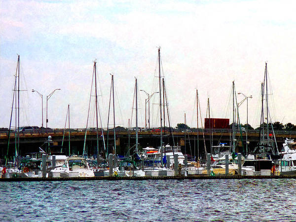 Docked Boats Norfolk Va Art Print