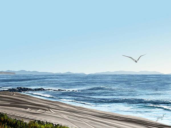 Lax Painting - Dockweiler Beach Ocean Study 1 by Jen Street