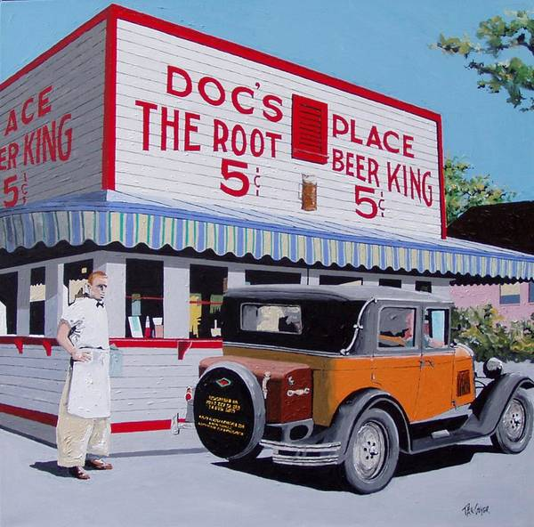 Wall Art - Painting - Docs Root Beer East Sacramento by Paul Guyer