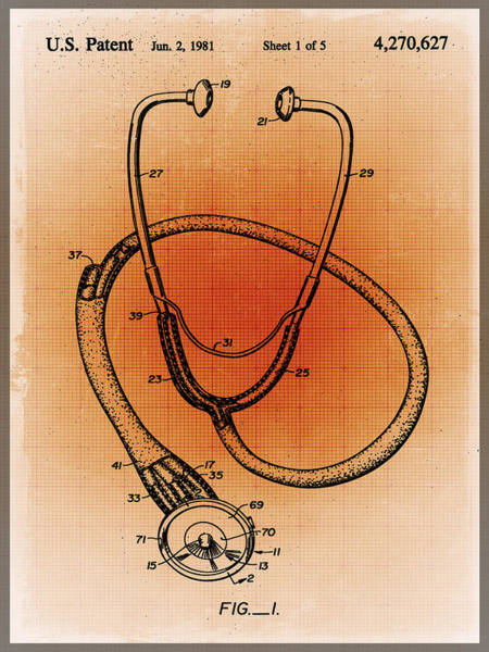 Drawing - Doctor Stethoscope 1 Patent Blueprint Drawing Sepia by Tony Rubino