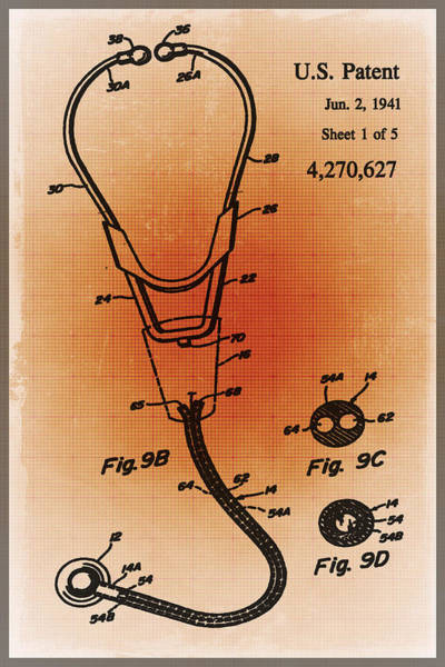 Mixed Media - Doctor Stethoscope 2 Patent Blueprint Drawing Sepia by Tony Rubino