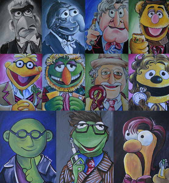 Frog Painting - Doctor Who Muppet Mash-up by Lisa Leeman