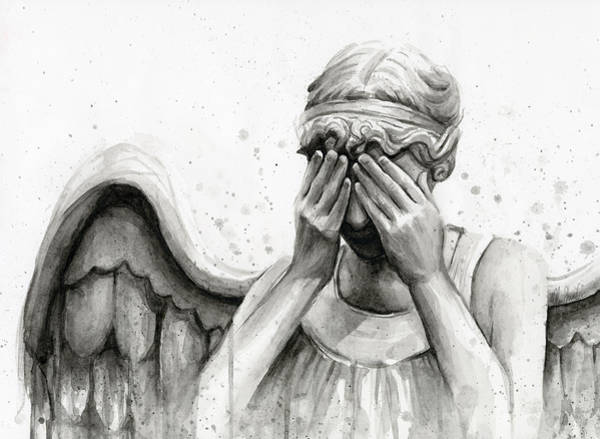 Wall Art - Painting - Doctor Who Weeping Angel Don't Blink by Olga Shvartsur