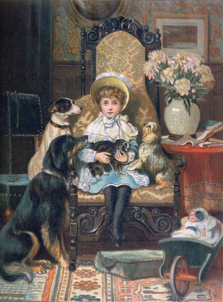 Cats And Dogs Painting - Doddy And Her Pets by Charles Trevor Grand