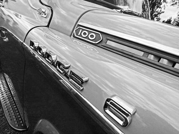 Photograph - Dodge D100 S In Black And White by Gill Billington