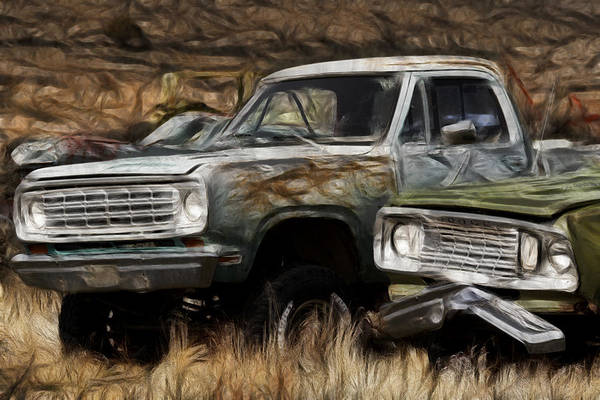 Wrecking Yard Photograph - Dodge Power Wagon by Wes and Dotty Weber