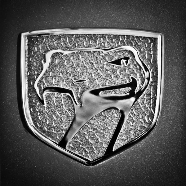 Wall Art - Photograph - Dodge Viper Emblem -217bw by Jill Reger