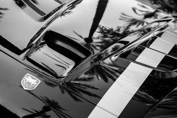 Photograph - Dodge Viper Hood Emblem -0376bw by Jill Reger