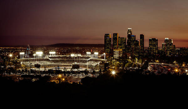 Landmark Photograph - Dodger Stadium At Dusk by Linda Posnick