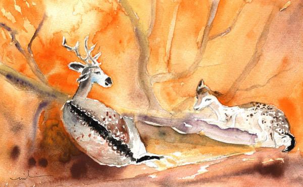 Painting - Doe And Deer In Gran Canaria by Miki De Goodaboom