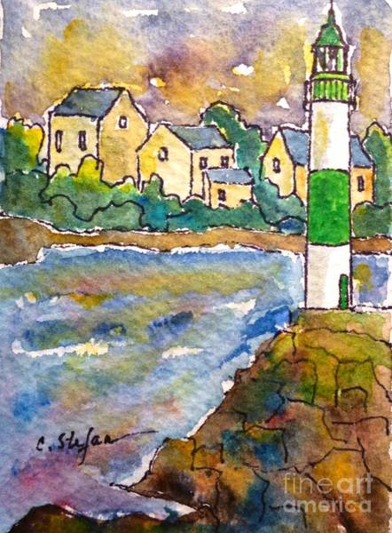 Painting - Doelan Lighthouse - France - Watercolor by Cristina Stefan