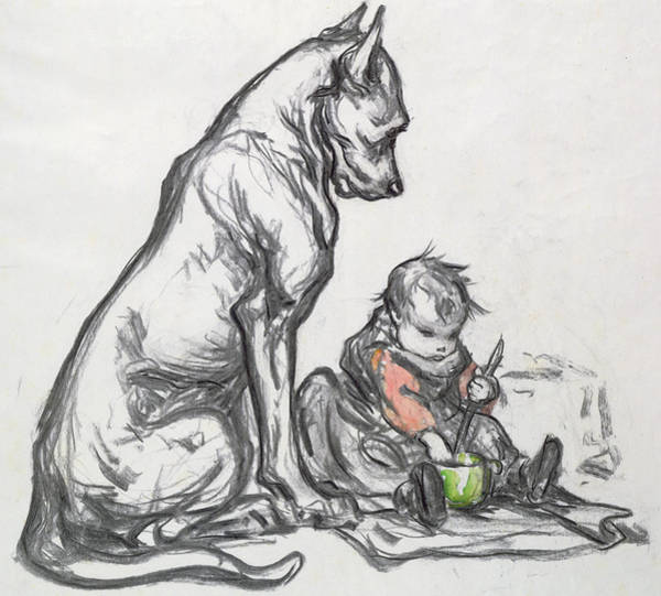 Toddler Painting - Dog And Child by Robert Noir