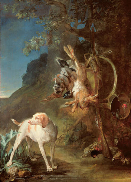Hunting Dog Painting - Dog And Game by Jean-Baptiste Simeon Chardin