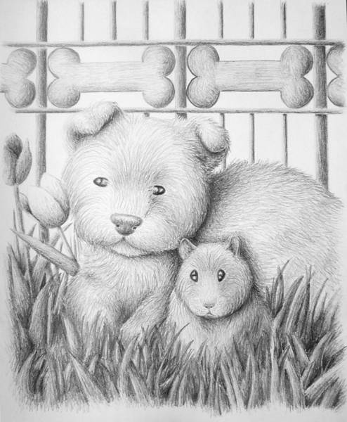 Hamster Drawing - Dog And Hamster by Jeanette K