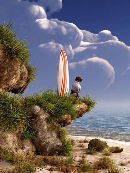 Digital Art - Dog And Surfboard by Daniel Eskridge