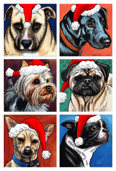 Yorkshire Terrier Painting - Dog Christmas Card by Katherine Plumer