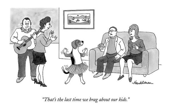 Parties Drawing - Dog Dancing In A Hula Dress At A Party by J.B. Handelsman