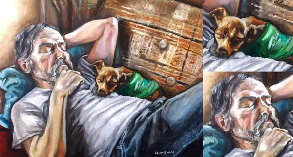 Snuggle Painting - Dog Days With Close Ups by Shana Rowe Jackson